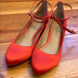 Anthropology - Pilcro  Letterpress red satin shoes